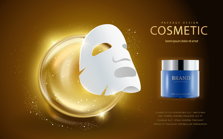 Cosmetic ads template, facial mask and cream container mockup, Essence drop elements in 3d illustration