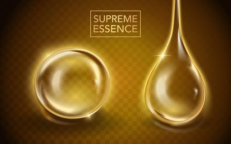 Supreme essence template, doorschijnende essentie olie met verschillende vorm in 3d illustratie