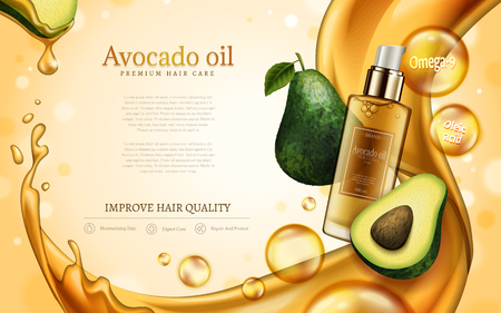 Avocado oil contained in cosmetic bottle, with avocado and golden oil elements, 3d illustration