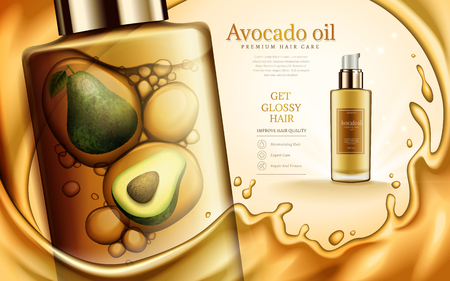 Avocado and oil contained in cosmetic bottles, with golden oil elements, 3d illustration
