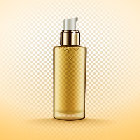 Transparent cosmetic bottle containing golden fluid, isolated 3d illustration