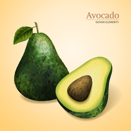 Green avocados, one sliced and has a seed, light yellow background 3d illustration Illustration