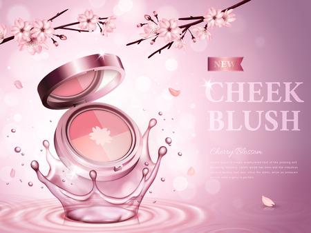 로맨틱 꽃, 분홍색 배경 3d 일러스트와 함께 화장품 케이스에 포함 된 벚꽃 뺨 홍당무