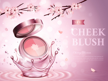 cherry blossom cheek blush contained in a cosmetic case, with romantic flowers, pink background 3d illustration Illustration