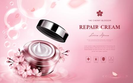 ピンクの背景の 3 d 図瓶、ロマンチックな花と、泡に含まれる桜修復クリーム