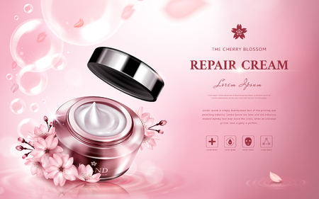 cherry blossom repair cream contained in a jar, with romantic flowers and bubbles, pink background 3d illustration Stock fotó - 79337591