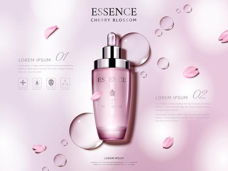 Kirschblütenessenz enthalten in einer Tröpfchenflasche, mit den Blumenblumenblättern, rosa Illustration des Hintergrundes 3d
