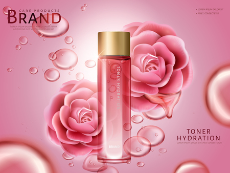 camellia hydrating toner contained in a bottle, with pink camellia flowers, pink background 3d illustration Ilustração