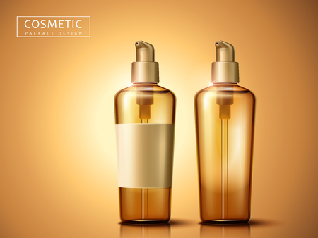 two blank plastic cosmetic bottles, isolated golden background, 3d illustration