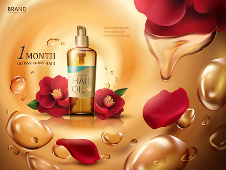 huile de cheveux de camélia contenue dans une bouteille, avec des fleurs de camélia rouge et des gouttes d'huile tourbillonnantes, illustration 3d de fond d'or
