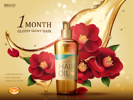 camellia hair oil contained in a bottle, with red camellia flowers and oil flow, golden background 3d illustration