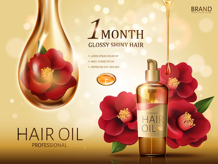 camellia hair oil contained in a bottle, with red camellia flowers and a huge oil drop covering a flower, golden background 3d illustration Reklamní fotografie - 79394298