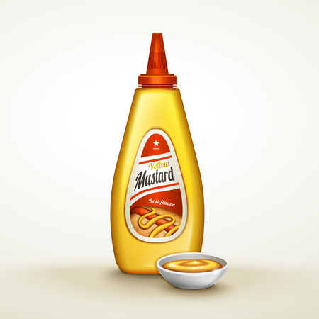 plastic yellow sauce bottle with label, isolated white background, 3d illustration