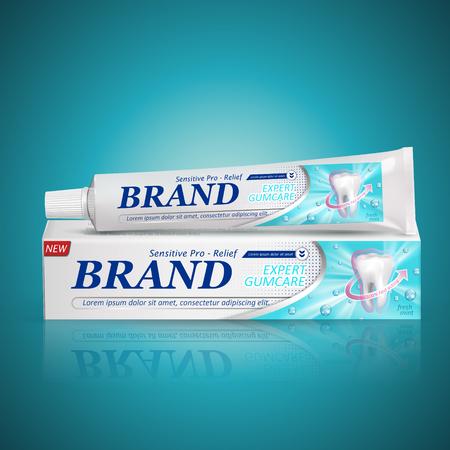 機密性の高い歯磨き粉のパッケージ デザイン分離ターコイズ ブルーの背景、3 d イラストレーション