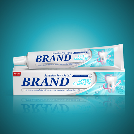 sensitive relief toothpaste package design isolated turquoise background, 3d illustration