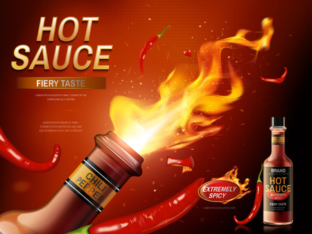 hot sauce ad with red chili pepper and fire emerging out from a bottle, red background, 3d illustration