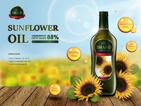 sunflower oil contained in glass bottle, sunflower farm 3d illustration