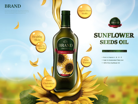 sunflower oil contained in glass bottle with oil flow element, sunflower farm 3d illustration Ilustrace