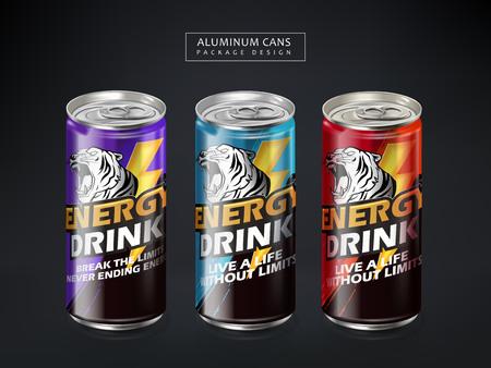 energy drink metal can package design, dark gray background, 3d illustration Иллюстрация