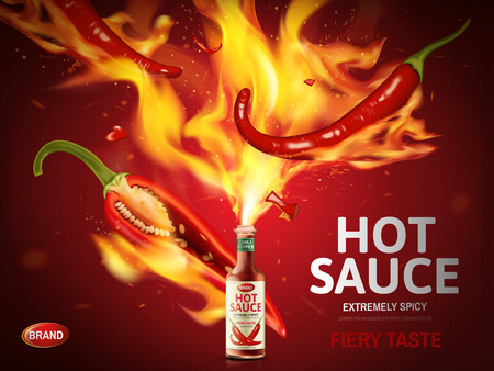hot sauce ad with red chili pepper and huge flames popping out from a bottle, red background, 3d illustration Illustration