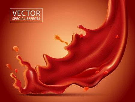 red fluid pouring down effect, isolated red background, 3d illustration Ilustração