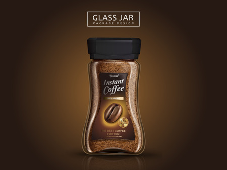 instant coffee jar package design, isolated brown background, 3d illustration Stok Fotoğraf - 79886903