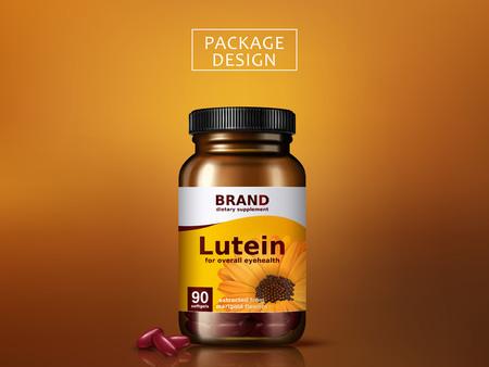 lutein 규정 식 보충 교재 포장 디자인, 고립 된 황금 배경, 3d 일러스트