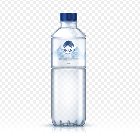 mineral water bottle package design, with snowy mountain image on label, isolated transparent background, 3d illustration