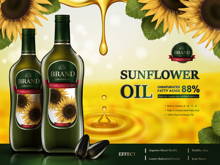 sunflower oil contained in glass bottles, sunflower elements and golden oil drops, 3d illustration