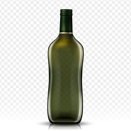 blank glass bottle design, isolated transparent background, 3d illustration