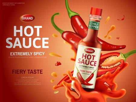 gorący sos reklamowy z wieloma czerwonymi papryczkami chili i elementami sosu, czerwone tło, ilustracja 3d Ilustracje wektorowe