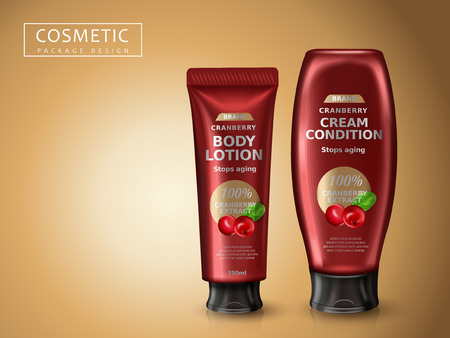 cranberry cosmetic products package design, 3d illustration
