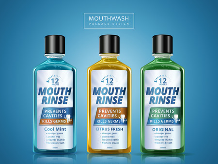 different flavors of mouth rinse, package design, 3d illustration