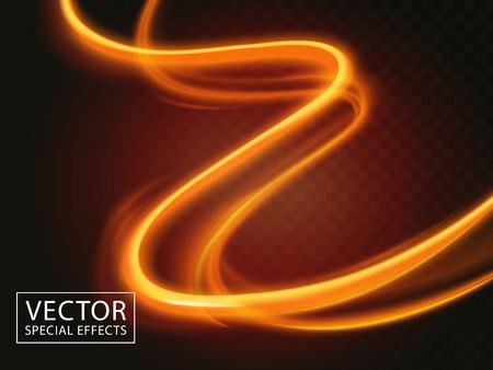 two bright light streaks, special effect 3d illustration Illustration