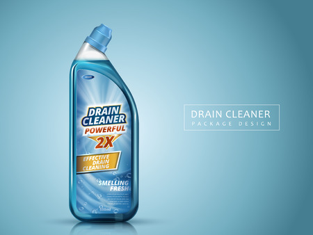 drain cleaner package design, isolated blue background, 3d illustration