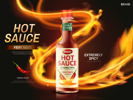 hot sauce ad with red chili pepper and ignited light streak, dark red background, 3d illustration