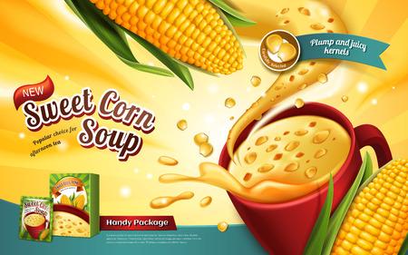 달콤한 옥수수 수프 광고, 특수 효과와 옥수수 요소, 3d 일러스트