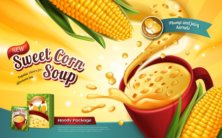 sweet corn soup ad, with special effect and corn elements, 3d illustration