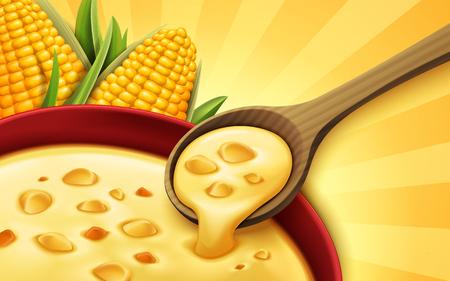 トウモロコシのスープ 3 d イラストレーション、デザイン要素として使用することができます。