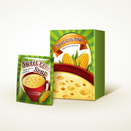 トウモロコシ スープ ・ パッケージ デザイン、孤立した白い背景、3 d イラスト