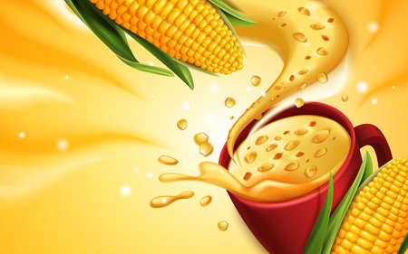 corn soup 3d illustration with special effect, can be used as design elements Çizim