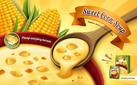 Anuncio de sopa de maíz dulce, con sopa de taza de cerca y elementos de núcleo de maíz, ilustración 3d Foto de archivo - 80194981