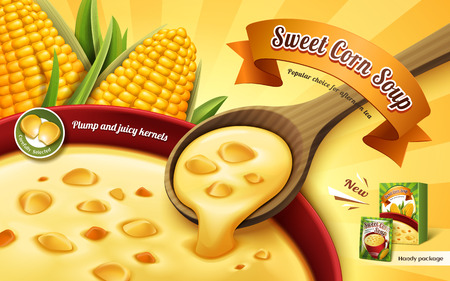 sweet corn soup ad, with cup soup close up and corn kernel elements, 3d illustration Illustration