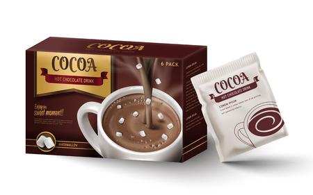 뜨거운 초콜릿 종이 상자 패키지 디자인, 고립 된 흰색 배경, 3d 일러스트