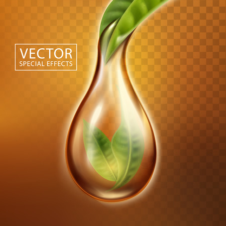 Tea special effect with leaves covered by a tea drop, transparent background 3d illustration Illustration