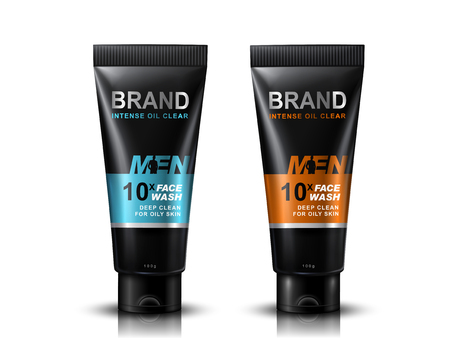 Face wash tubes package design, white background 3d illustration Illustration