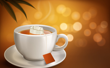 Hot tea and tea bag in realistic white cup with smoke, blur background 3d illustration
