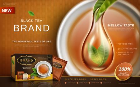 Zwarte theeadvertentie met zuiver thee speciaal effect, van de theekop 3d illustratie als achtergrond Stockfoto - 80260793
