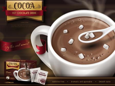 ホット チョコレート飲む広告、スプーン、小さなマシュマロと背景をぼかし、3 d イラスト