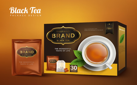 Black tea box and handy package design, isolated brown background 3d illustration